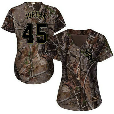 White Sox #45 Michael Jordan Camo Realtree Collection Cool Base Women's Stitched Baseball Jersey