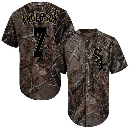 White Sox #7 Tim Anderson Camo Realtree Collection Cool Base Stitched Youth Baseball Jersey