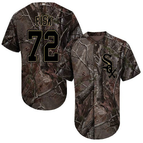 White Sox #72 Carlton Fisk Camo Realtree Collection Cool Base Stitched Youth Baseball Jersey