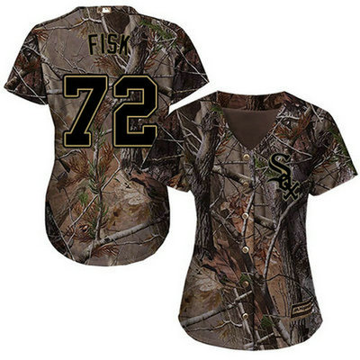 White Sox #72 Carlton Fisk Camo Realtree Collection Cool Base Women's Stitched Baseball Jersey