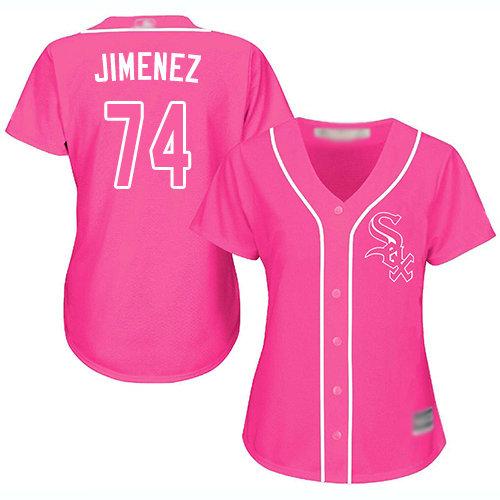 White Sox #74 Eloy Jimenez Pink Fashion Women's Stitched Baseball Jersey