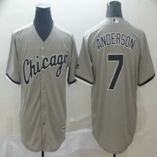 White Sox 7 Tim Anderson Gray Cool Base Jersey
