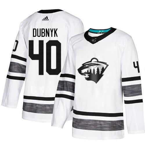 Wild #40 Devan Dubnyk White Authentic 2019 All-Star Stitched Hockey Jersey