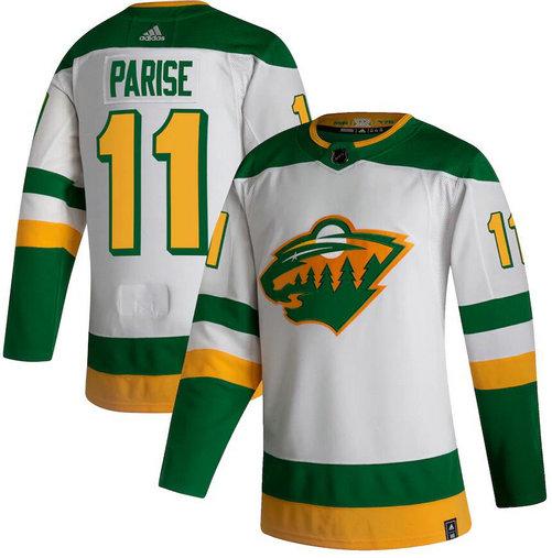 Wild 11 Zach Parise White 2020-21 Reverse Retro Adidas Jersey1