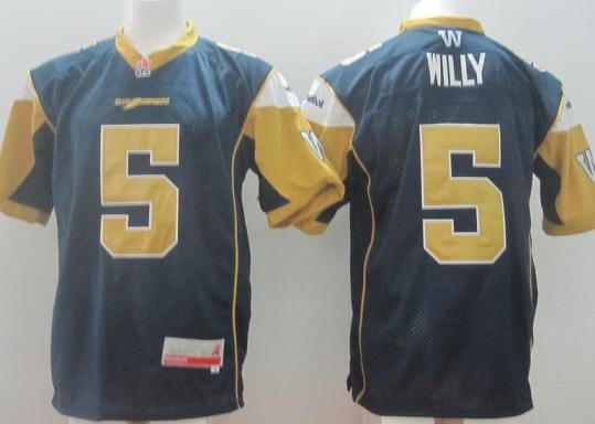 Winnipeg Blue Bombers 5 Drew Willy Blue Home CFL Jersey