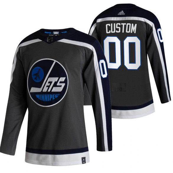 Winnipeg Jets Custom Black Men's Adidas 2020-21 Alternate Authentic Player NHL Jersey
