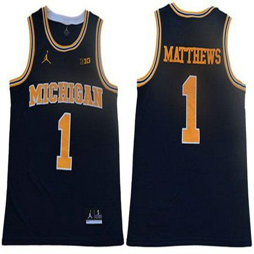 Wolverines #1 Charles Matthews Navy Blue Jordan Brand Limited Stitched College Jersey