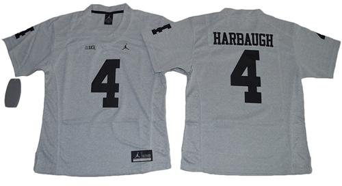 Wolverines #4 Jim Harbaugh Gridiron Gray II Women's Stitched NCAA Jersey