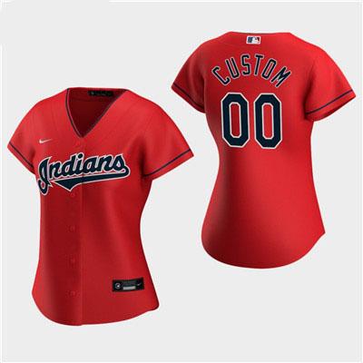 Women's Custom Cleveland Indians 2020 Red Alternate Replica Jersey