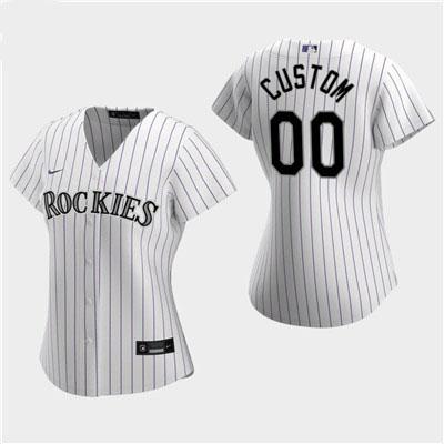 Women's Custom Colorado Rockies 2020 White Home Replica Jersey