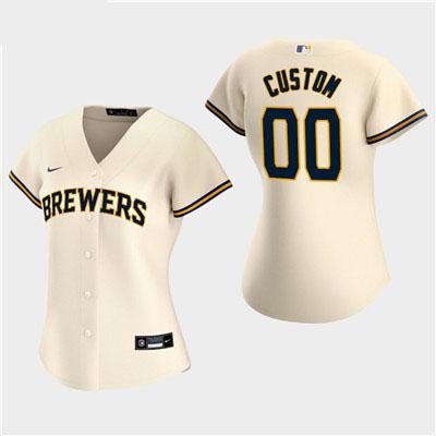 Women's Custom Milwaukee Brewers 2020 Cream Home Replica Jersey