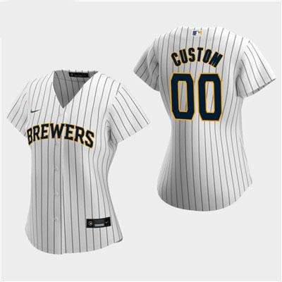 Women's Custom Milwaukee Brewers 2020 White Alternate Replica Jersey