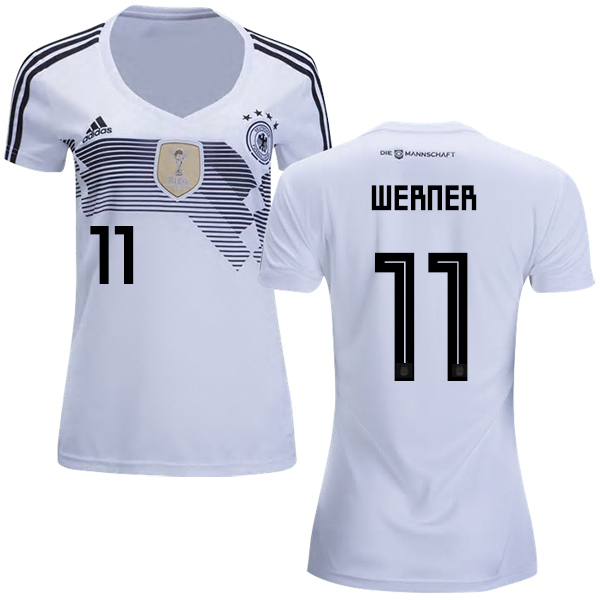 Women's Germany #11 Werner White Home Soccer Country Jersey