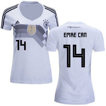 Women's Germany #14 Emre Can White Home Soccer Country Jersey