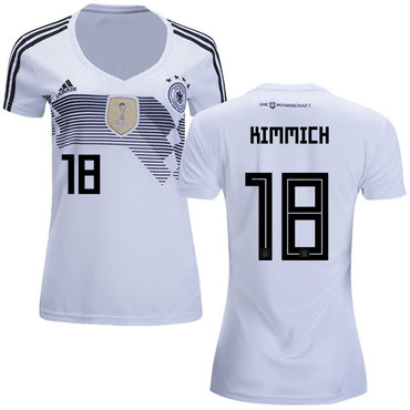 Women's Germany #18 Kimmich White Home Soccer Country Jersey1