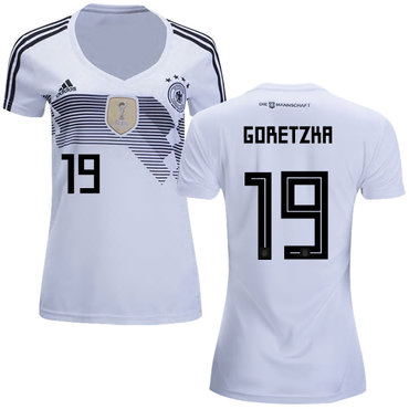 Women's Germany #19 Goretzka White Home Soccer Country Jersey