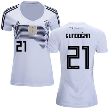 Women's Germany #21 Gundogan White Home Soccer Country Jersey