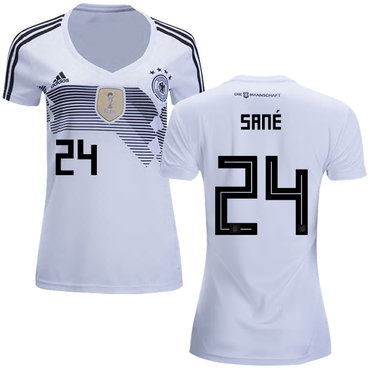 Women's Germany #24 Sane White Home Soccer Country Jersey