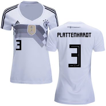Women's Germany #3 Plattenhardt White Home Soccer Country Jersey