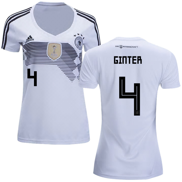 Women's Germany #4 Ginter White Home Soccer Country Jersey