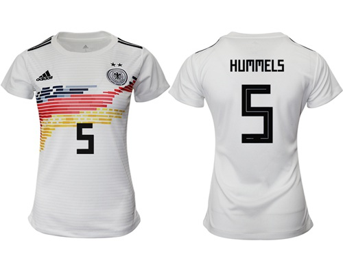 Women's Germany #5 Hummels White Home Soccer Country Jersey