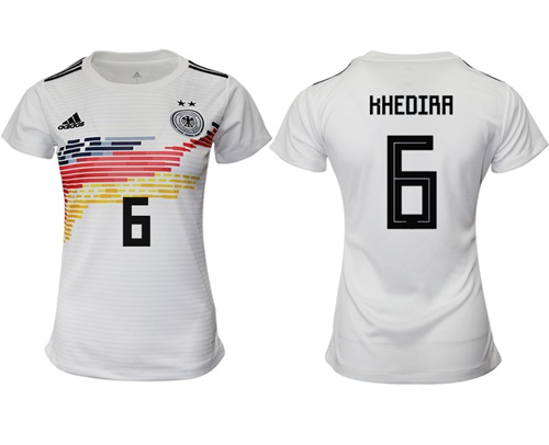 Women's Germany #6 Khedira White Home Soccer Country Jersey