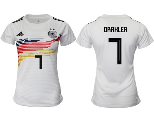 Women's Germany #7 Draxler White Home Soccer Country Jersey