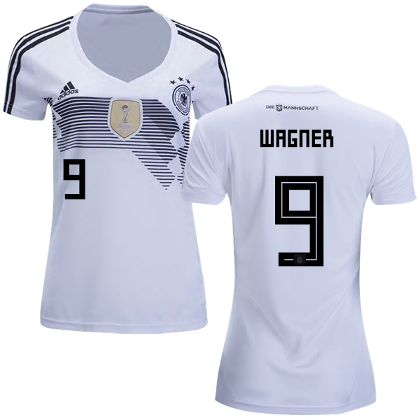Women's Germany #9 Wagner White Home Soccer Country Jersey