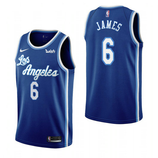 Women's Los Angeles Lakers #6 Lebron James Blue 2019-20 Classic Edition Stitched Women's NBA Jersey