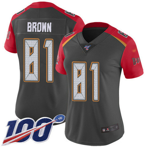 Women's Nike Buccaneers #81 Antonio Brown Gray Women's Stitched NFL Limited Inverted Legend 100th Season Jersey