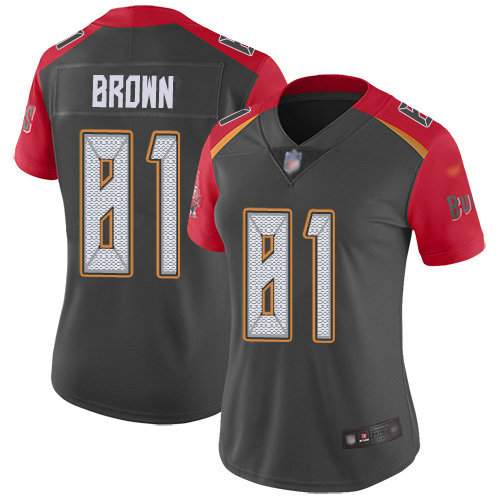 Women's Nike Buccaneers #81 Antonio Brown Gray Women's Stitched NFL Limited Inverted Legend Jersey