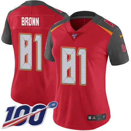Women's Nike Buccaneers #81 Antonio Brown Red Team Color Women's Stitched NFL 100th Season Vapor Untouchable Limited Jersey