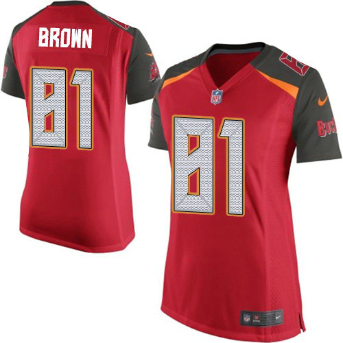 Women's Nike Buccaneers #81 Antonio Brown Red Team Color Women's Stitched NFL New Elite Jersey