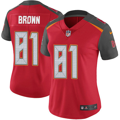 Women's Nike Buccaneers #81 Antonio Brown Red Team Color Women's Stitched NFL Vapor Untouchable Limited Jersey