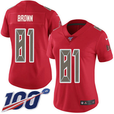 Women's Nike Buccaneers #81 Antonio Brown Red Women's Stitched NFL Limited Rush 100th Season Jersey