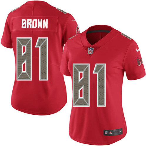 Women's Nike Buccaneers #81 Antonio Brown Red Women's Stitched NFL Limited Rush Jersey