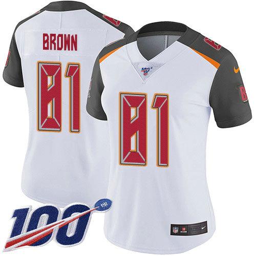 Women's Nike Buccaneers #81 Antonio Brown White Women's Stitched NFL 100th Season Vapor Untouchable Limited Jersey