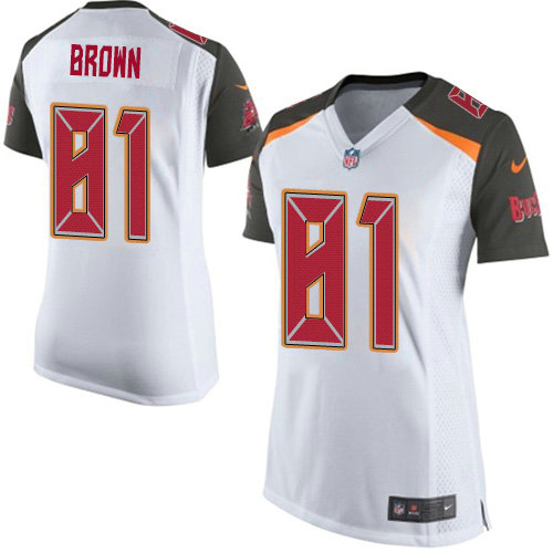 Women's Nike Buccaneers #81 Antonio Brown White Women's Stitched NFL New Elite Jersey