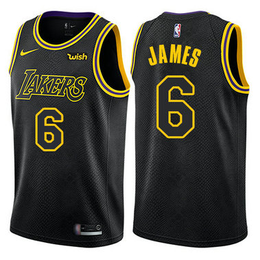 Women's Nike Lakers #6 LeBron James Black Women's NBA Swingman City Edition Jersey