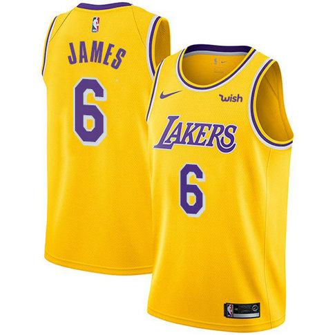 Women's Nike Lakers #6 LeBron James Gold Women's NBA Swingman Icon Edition Jersey