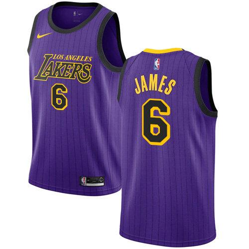 Women's Nike Lakers #6 LeBron James Purple Women's NBA Swingman City Edition 2018 19 Jersey