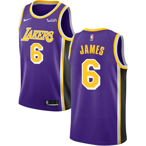 Women's Nike Lakers #6 LeBron James Purple Women's NBA Swingman Statement Edition Jersey