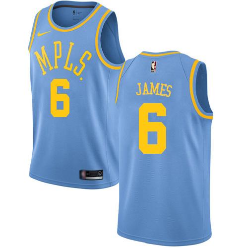 Women's Nike Lakers #6 LeBron James Royal Blue Women's NBA Swingman Hardwood Classics Jersey