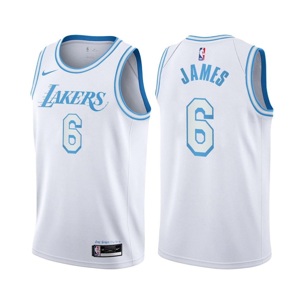 Women's Nike Lakers #6 LeBron James White Women's NBA Swingman 2020-21 City Edition Jersey