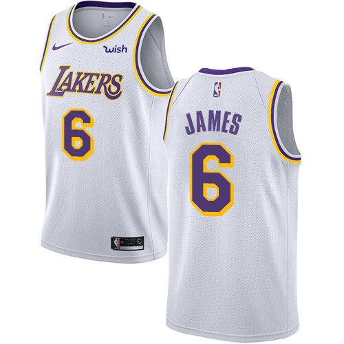Women's Nike Lakers #6 LeBron James White Women's NBA Swingman Association Edition Jersey