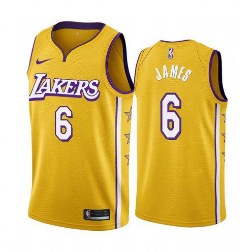 Women's Nike Lakers #6 Lebron James Women's Unveil 2019-20 City Edition Swingman NBA Jersey Yellow
