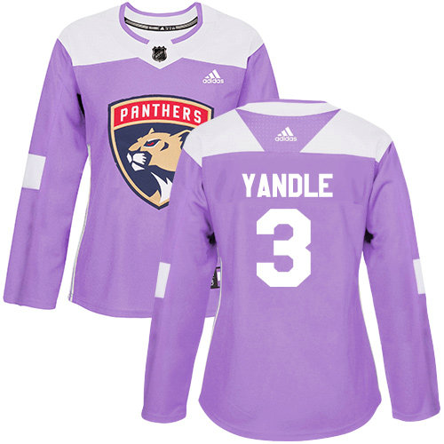 Women's Panthers #3 Keith Yandle Purple Authentic Fights Cancer Women's Stitched Hockey Jersey