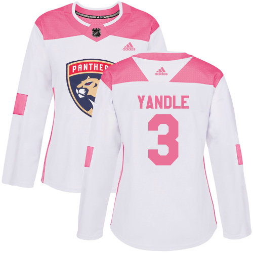 Women's Panthers #3 Keith Yandle White Pink Authentic Fashion Women's Stitched Hockey Jersey