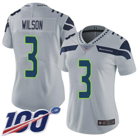 Women's Seattle Seahawks #3 Russell Wilson Grey Alternate Vapor Untouchable Limited Player 100th Season Football Jersey
