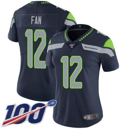 Women's Seattle Seahawks 12th Fan Navy Blue Team Color Vapor Untouchable Limited Player 100th Season Football Jersey